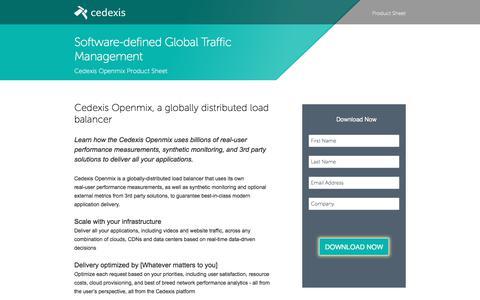 Screenshot of Landing Page cedexis.com - Software Defined Global Traffic Management Product Sheet - captured Sept. 30, 2017
