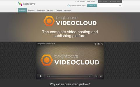 Screenshot of Products Page brightcove.com - Online Video Platform | Video Hosting | Video Cloud - captured Sept. 10, 2014