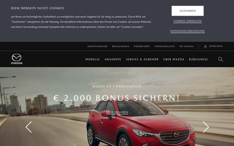 Screenshot of Home Page mazda.at - Mazda Austria: Willkommen - captured Nov. 15, 2018