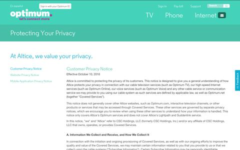 Screenshot of Privacy Page optimum.net captured March 11, 2017