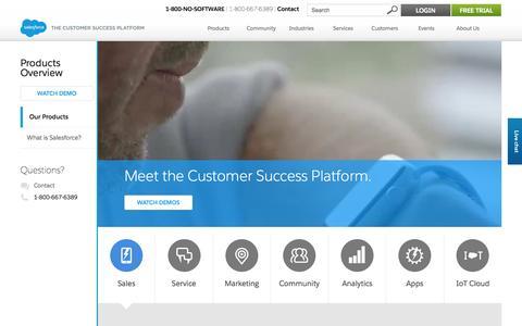 Screenshot of Products Page salesforce.com - Cloud apps and platform - Salesforce.com - captured Sept. 30, 2015