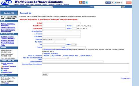 Screenshot of FAQ Page fmsinc.com - FMS Contact and Feedback - 8150 Leesburg Pike, Suite 1150, Vienna, Virginia 22182 near Washington DC - captured Nov. 3, 2014