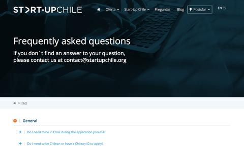 Screenshot of FAQ Page startupchile.org - FAQ – Start-Up Chile - captured Sept. 21, 2018