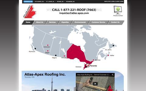 Screenshot of Home Page atlas-apex.com - Atlas-Apex Roofing - Always on Top - captured Oct. 4, 2014