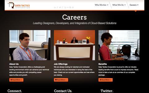 Screenshot of Jobs Page data-tactics.com - Careers - Data Tactics Corporation - captured Oct. 30, 2014