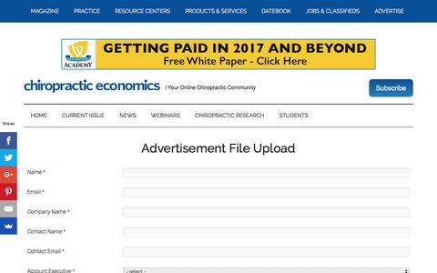 Advertising File Upload Form   Chiropractic Economics