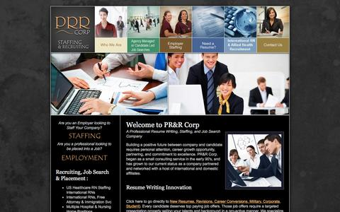 Screenshot of Home Page prrcorp.com - Resumes, Professional Resumes and Recruiting PRR Corp, Resume Service, Staffing, Recruiting, Employment Temp and Direct Hire - captured May 12, 2017