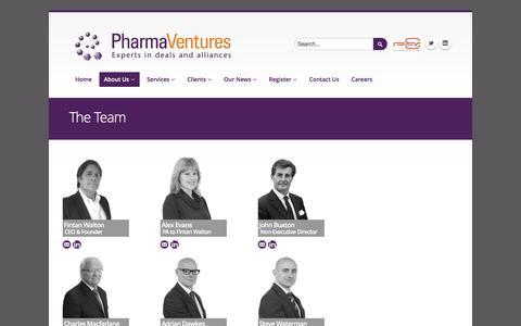 Screenshot of Team Page pharmaventures.com - The Team | PharmaVentures - captured July 13, 2016