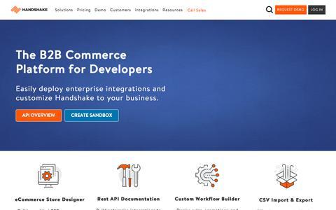 Screenshot of Developers Page handshake.com - (2) New Messages! - captured Sept. 16, 2018