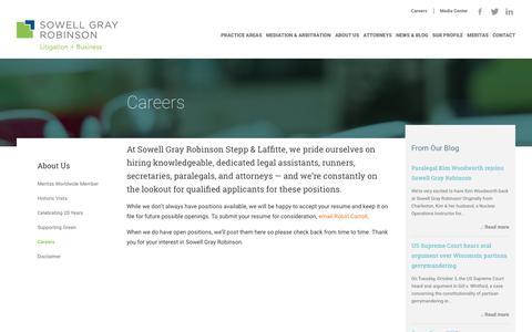Screenshot of Jobs Page sowellgray.com - Careers - Sowell Gray Robinson Stepp & Laffitte, LLC - captured Oct. 26, 2017