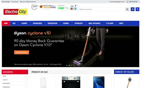 Screenshot of Home Page electrocity.ie - Home Appliances | Televisions | Technology | Shop Online - captured July 23, 2018