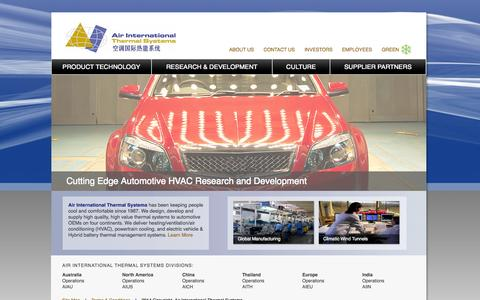 Screenshot of Home Page ai-thermal.com - Air International Thermal Systems - captured Oct. 4, 2014