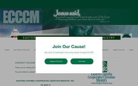 Screenshot of Contact Page ecccm.org - Contact Us — Eastern Catawba Cooperative Christian Ministry - captured Sept. 26, 2018