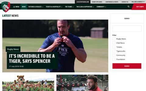 Screenshot of Press Page leicestertigers.com - News | Leicester Tigers - captured July 18, 2018