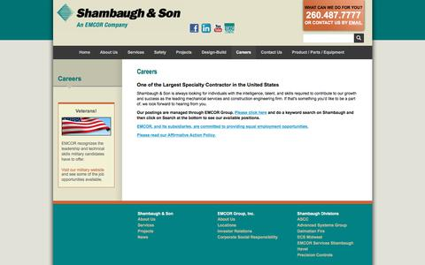 Screenshot of Jobs Page shambaugh.com - Fire Suppression Company & Prefab Buildings | Shambaugh & Son - captured Feb. 25, 2018