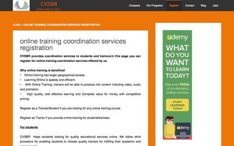 Screenshot of Signup Page cvsbr.com - online training coordination services registration - cvsbr - captured Sept. 26, 2014