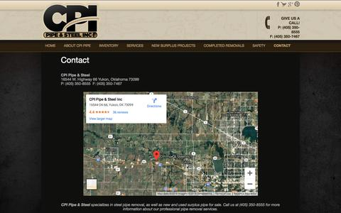 Screenshot of Contact Page cpipipe.com - Steel Pipe Removal Company | New Used Surplus Pipe For Sale - captured Sept. 29, 2019