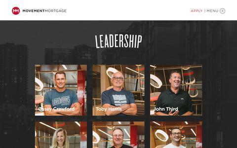 Screenshot of Team Page movement.com - Leadership - Movement Mortgage - captured April 17, 2018
