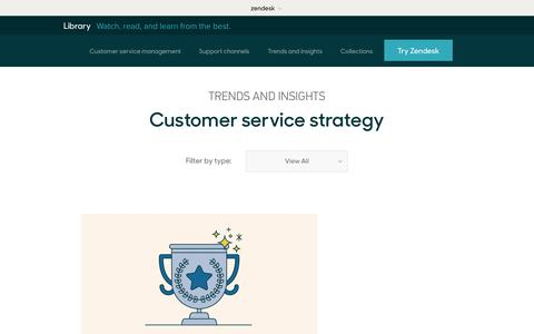 Screenshot of Support Page zendesk.com - Customer service strategy | Zendesk Library - captured Aug. 5, 2018
