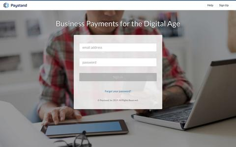 Screenshot of Login Page paystand.com - Paystand - captured Nov. 7, 2019