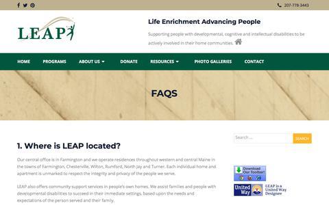 Screenshot of FAQ Page leapcommunity.org - FAQs – Leap Community - captured Sept. 24, 2018