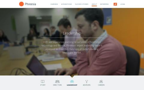Screenshot of Team Page phreesia.com - About: Leadership — Phreesia.com - captured July 20, 2014