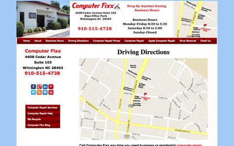 Screenshot of Maps & Directions Page computerfixx.biz - Driving Directions | Computer Fixx - Wilmington, NC Computer Repair - captured Oct. 27, 2014