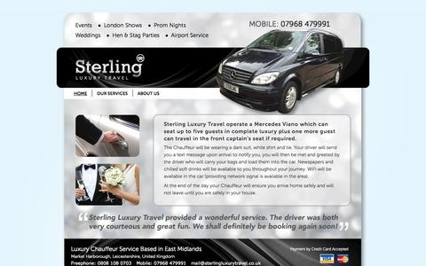 Screenshot of Home Page sterlingluxurytravel.co.uk - Sterling Luxury Travel - Chauffeur Services Market Harborough - captured Oct. 7, 2014