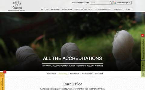 Screenshot of Blog kairali.com - Kairali Ayurvedic Group | Blogs About Ayurveda | Articles About Ayurveda | What is Ayurveda - captured Sept. 22, 2018