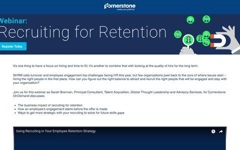 Screenshot of Landing Page cornerstoneondemand.com - CSOD  On-Demand Webinar: Recruiting for Retention - captured Sept. 19, 2018