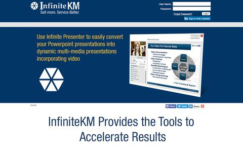 Screenshot of Login Page infinitekm.com - Channel Sales | Contact Centers | Sales Enablement | Proposal Generation | Analytics | Knowledge Base | Communication Tools - captured July 6, 2018