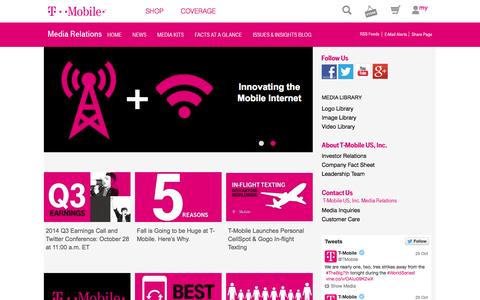 Screenshot of Press Page t-mobile.com - Newsroom   T-Mobile Newsroom - captured Oct. 27, 2014