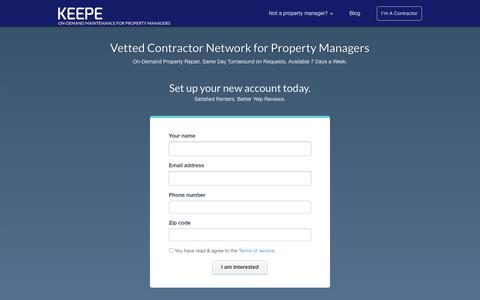 Screenshot of Signup Page keepe.com - Property Manager Signup | Keepe - captured July 8, 2018