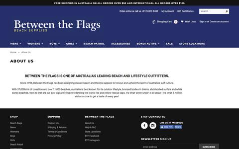 Screenshot of About Page betweentheflags.com.au - About Us | Between The Flags | Surf Shop | Bondi Beach | Australia - captured Aug. 2, 2018
