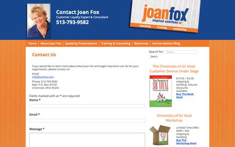 Screenshot of Contact Page joanfox.com - Contact Us - JoanFox.com - captured Nov. 9, 2018