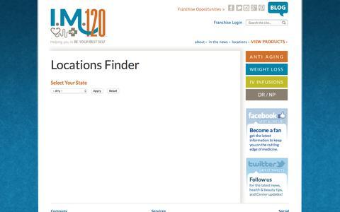 Screenshot of Locations Page im-120.com - Locations Finder | Intellectual Medicine 120 - captured Nov. 16, 2017