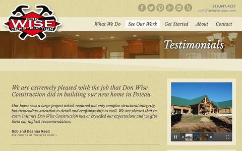 Screenshot of Testimonials Page donwiseconst.com - Testimonials : Don Wise Construction : Poteau, OK - captured Oct. 5, 2014