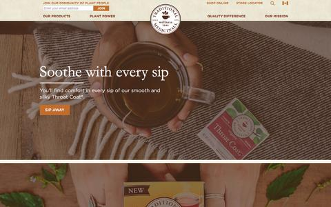 Screenshot of Home Page traditionalmedicinals.com - All-Natural Organic Herbal and Medicinal Teas - Traditional Medicinals - captured Feb. 2, 2016