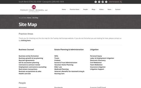 Screenshot of Site Map Page thklaw.com - Site Map - Tuesley Hall Konopa, LLP - captured Oct. 6, 2014
