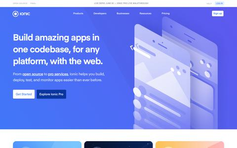 Screenshot of Home Page ionicframework.com - Build Amazing Native Apps and Progressive Web Apps with Ionic Framework and Angular - captured May 31, 2018