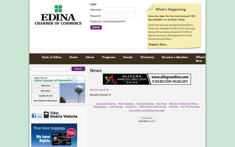 Screenshot of Press Page edinachamber.com - News - Default - Edina Chamber of Commerce - captured Oct. 2, 2014
