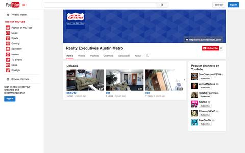 Screenshot of YouTube Page youtube.com - Realty Executives Austin Metro  - YouTube - captured Oct. 26, 2014