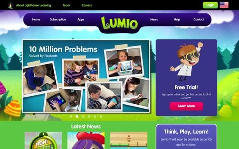 Screenshot of Home Page About Page Contact Page Team Page lighthouselearning.com - Lumio Education - Online Math Resources for Teachers and Parents - captured July 3, 2015