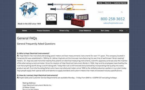Screenshot of FAQ Page hoytmeter.com - Frequently Asked Questions    Hoyt Electrical Instrument Works, Inc - captured Nov. 14, 2016