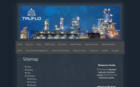 Screenshot of Site Map Page truflo.com - ANSI & API Centrifugal Process Pumps   Truflo Pumps, Inc. - captured Dec. 20, 2016