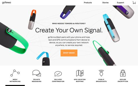 Screenshot of Home Page gotenna.com - goTenna | Text & GPS on your phone, even without service - captured July 22, 2017