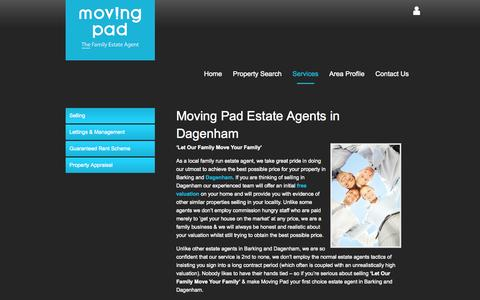 Screenshot of Services Page movingpad.com - Moving Pad Estate Agents in Dagenham - Property For Sale - captured Oct. 7, 2014