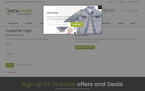 Screenshot of Login Page vistastores.com - Customer Login - captured Dec. 11, 2016