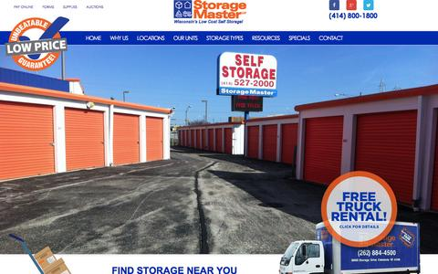 Screenshot of Home Page storagemaster.com - Milwaukee, WI Storage Units | Storage Master LLC - Storage Master - captured Feb. 16, 2016