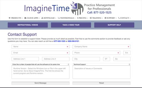Screenshot of Trial Page imaginetime.com - Contact Support - ImagineTime Software - captured Nov. 11, 2016